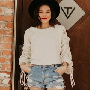 Sweaters - RUCHED BELL SLEEVE CROP PULLOVER
